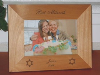 Bat Mitzvah Picture Frame - Personalized Frame - Laser Engraved Star of David