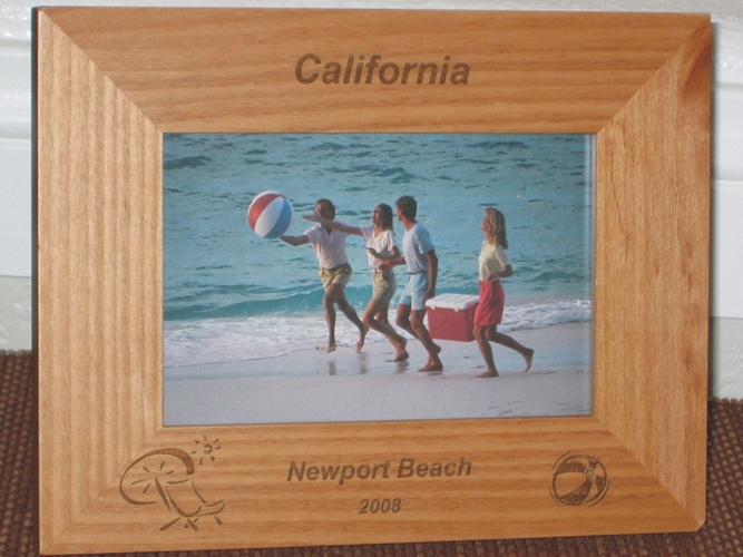 Beach Ball Picture Frame - Personalized Frame - Laser Engraved Beach Ball & Chair