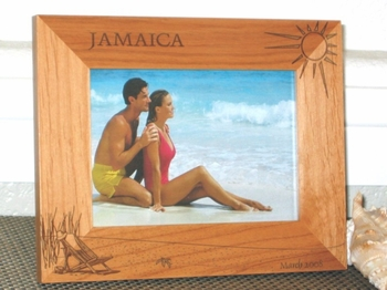 Beach Picture Frame - Personalized Frame - Laser Engraved Beach Theme - Jamaica