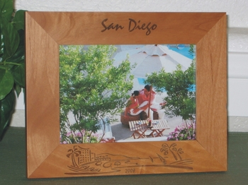 Beach Resort Picture Frame - Personalized Frame - Laser Engaved Beach Resort Theme