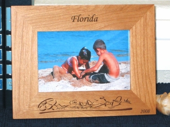 Beach Theme Picture Frame - Personalized Frame - Laser Engraved Beach Theme
