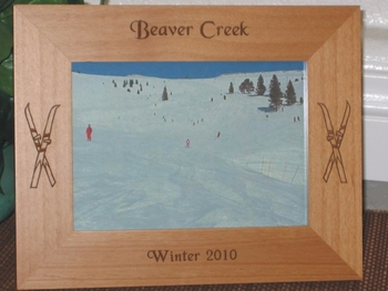 Beaver Creek Picture Frame - Personalized Frame - Laser Engraved Skiis