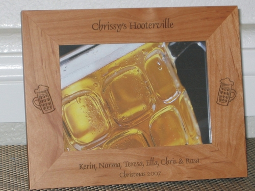 Beer Picture Frame - Personalized Frame - Laser Engraved Beer Mugs