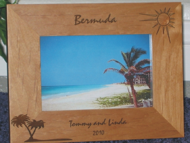 Bermuda Picture Frame - Personalized Frame - Laser Engraved Palms & Sun