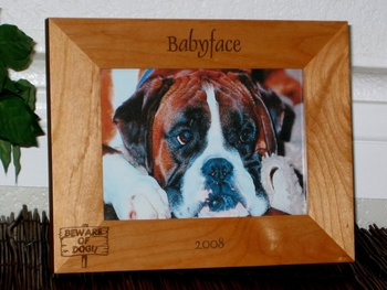 Beware of Dog Picture Frame - Personalized Frame - Laser Engraved Beware of Dog Sign