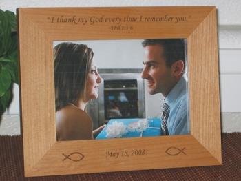 Bible Scripture Picture Frame - Personalized Frame - Laser Engraved Religious Symbol