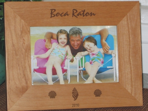 Boca Raton Picture Frame - Personalized Frame - Laser Engraved Shells
