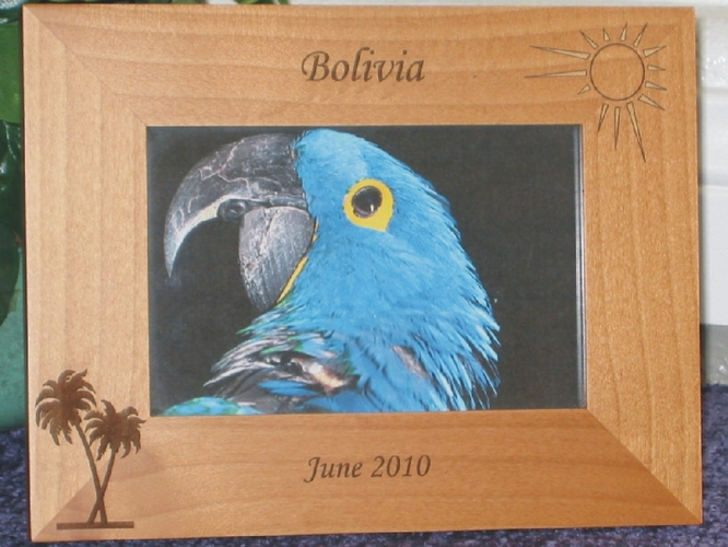 Bolivia Picture Frame - Personalized Frame - Laser Engraved Sun & Palm