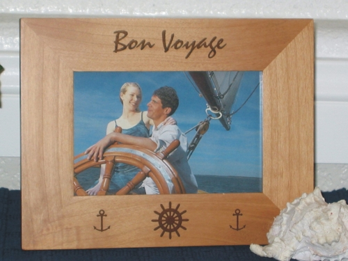 Bon Voyage Picture Frame - Personalized Frame - Laser Engraved Boat Anchor & Wheel