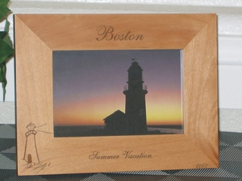 Boston Picture Frame - Personalized Frame - Laser Engraved Lighthouse