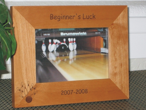 Bowling Picture Frame - Personalized Frame - Laser Engraved Bowling Ball & Pins