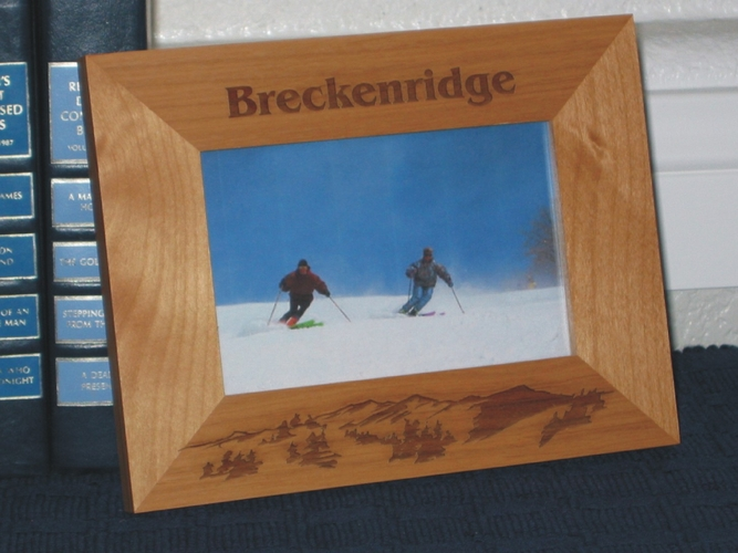 Breckenridge Ski Picture Frame - Personalized Frame - Laser Engraved Mountains