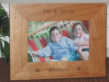Brothers Picture Frame - Personalized Frame - Laser Engraved Stars