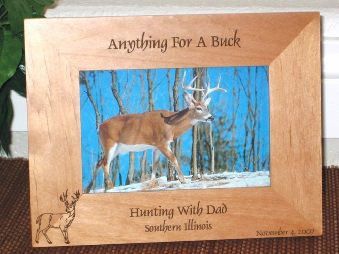 Buck Hunting Picture Frame - Personalized Frame - Laser Engraved Buck (2)