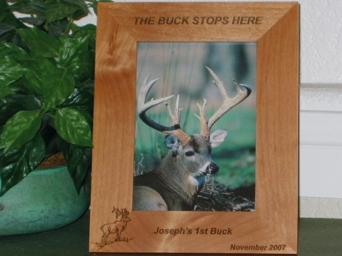 Buck Picture Frame - Personalized Frame - Laser Engraved Deer - Buck