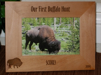 Buffalo Hunting Picture Frames - Personalized Souvenir Frame - Laser Engraved Buffalo