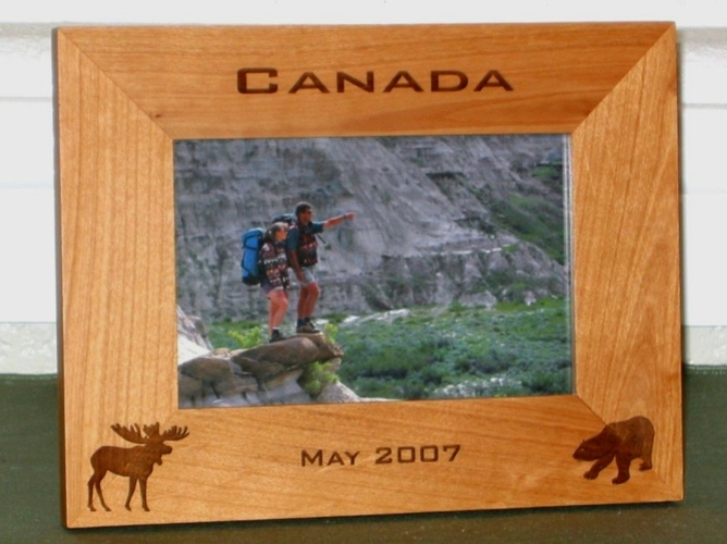 Canada Picture Frame - Personalized Frame - Laser Engraved Moose & Bear