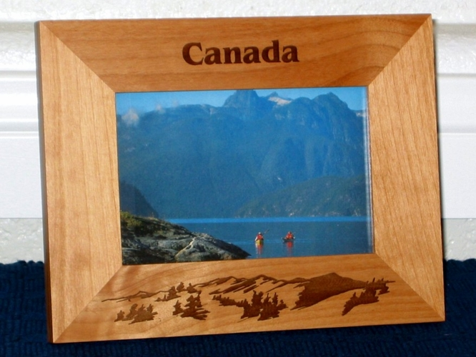 Canada Picture Frame - Personalized Souvenir Frame - Laser Engraved Mountains