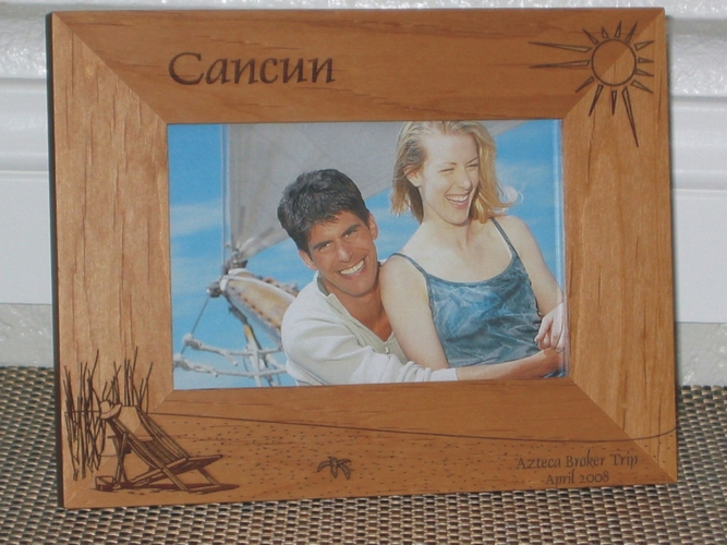 Cancun Picture Frame - Personalized Frame - Laser Engraved Beach Theme