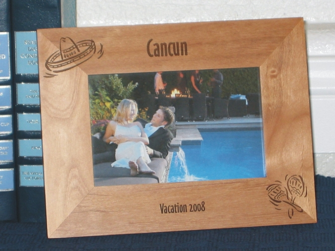 Cancun Picture Frame - Personalized Frame - Laser Engraved Sombrero & Maracas