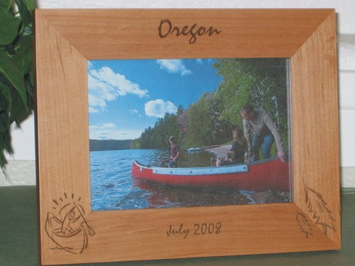 Canoeing Picture Frame - Personalized Frame - Laser Engraved Canoe and Pine Trees
