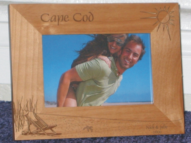 Cape Cod Picture Frame - Personalized Frame - Laser Engraved Beach Scene