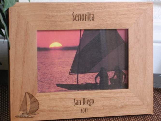 Catamaran Picture Frame - Personalized Frame - Laser Engraved Catamaran Boat