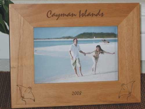 Cayman Islands Picture Frame - Personalized Frame - Laser Engraved Manta Ray