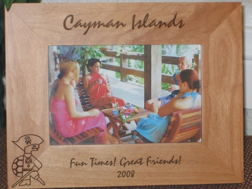 Cayman Islands Picture Frame - Personalized Frame - Laser Engraved Pirate Turtle Icon
