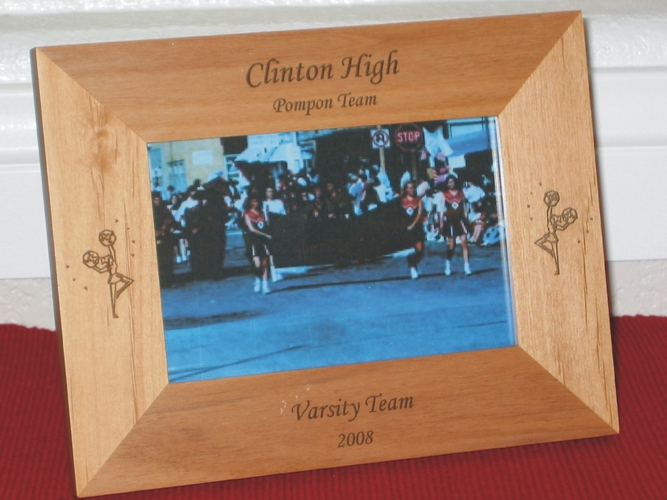 Cheerleader Picture Frame - Personalized Frame - Laser Engraved Chearleader with Pompons