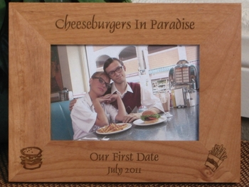 Cheeseburger Picture Frame - Personalized Frame - Laser Engraved Cheeseburger - Fries