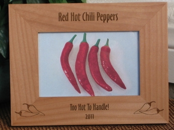 Chili Peppers Picture Frame - Personalized Frame - Laser Engraved Chili Peppers