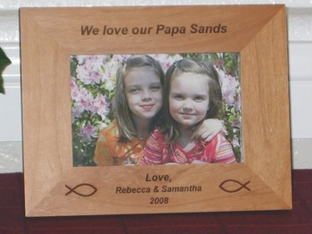 Christian Fish Picture Frame - Personalized Frame - Laser Engraved Fish Symbols and Bible Scripture