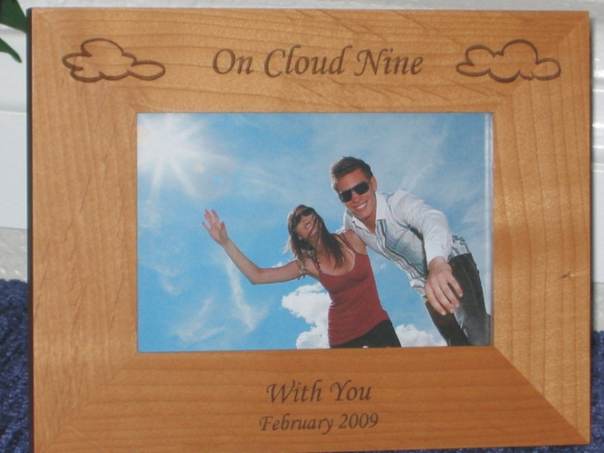 Cloud Picture Frame - Personalized Frame - Laser Engraved Clouds