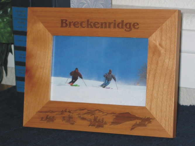 Colorado Ski Picture Frame - Personalized Frame - Laser Engraved Mountains