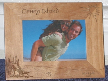 Coney Island Picture Frame - Personalized Frame - Laser Engraved Beach Scene