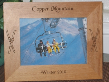 Copper Mountain Picture Frame - Personalized Frame - Laser Engraved Skiis