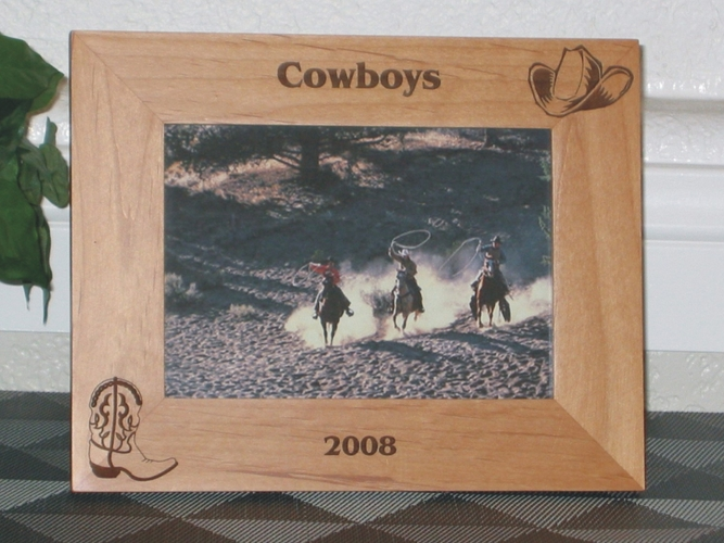 Cowboy Hat Picture Frame - Personalized Western Frame - Laser Engraved Cowbot Hat & Boot