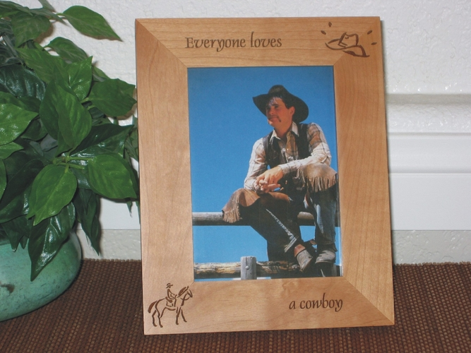 Cowboy Picture Frame - Personalized Frame - Laser Engraved Cowboy & Hat