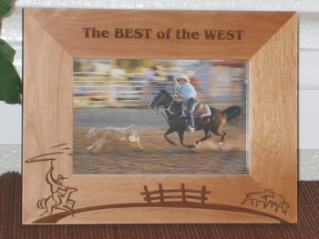 Cowboy Theme Lasso Picture Frame - Personalized Western Frame - Laser Engraved Cowboy Horse Lasso Cows