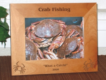 Crab Picture Frame - Personalized Fishing Frame - Laser Engraved Crabs