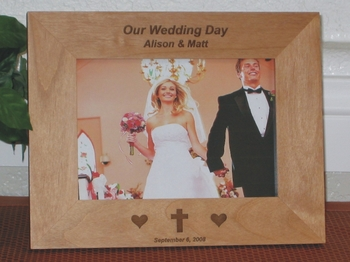 Cross Picture Frame - Personalized Frame - Laser Engraved Cross & Heart