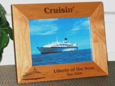 Cruise Picture Frame - Personalized Frame - Laser Engraved Cruise Ship