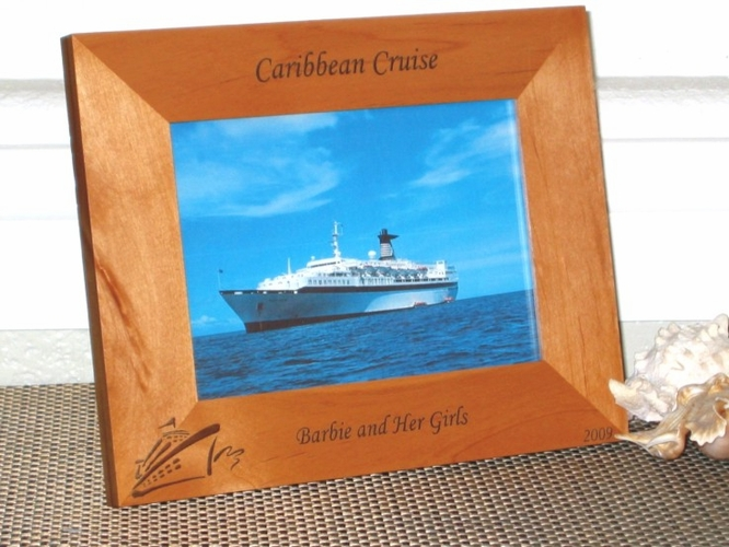 Cruise Ship Picture Frame - Personalized Gift Frame - Laser Engraved Cruise Souvenir