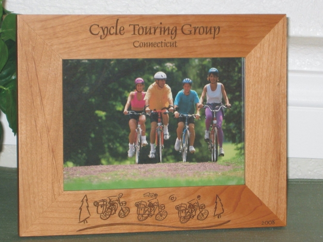Cycle Theme Picture Frame - Personalized Frame - Laser Engraved Cycle Tour Theme