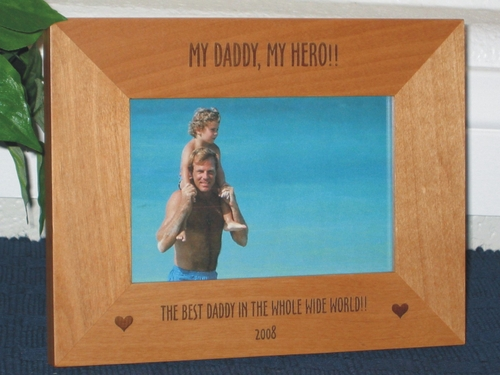 Daddy Hero Picture Frame - Personalized Frame - Laser Engrave Hearts or Stars