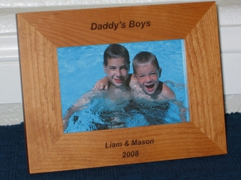 Daddy's Boys Picture Frame - Personalized Frame - Laser Engraved Text