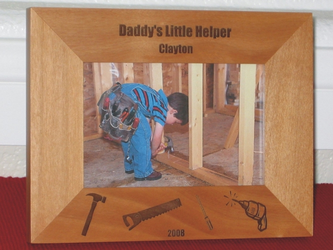 Daddy's Helper Picture Frame - Personalized Tool Frame - Laser Engraved Tools