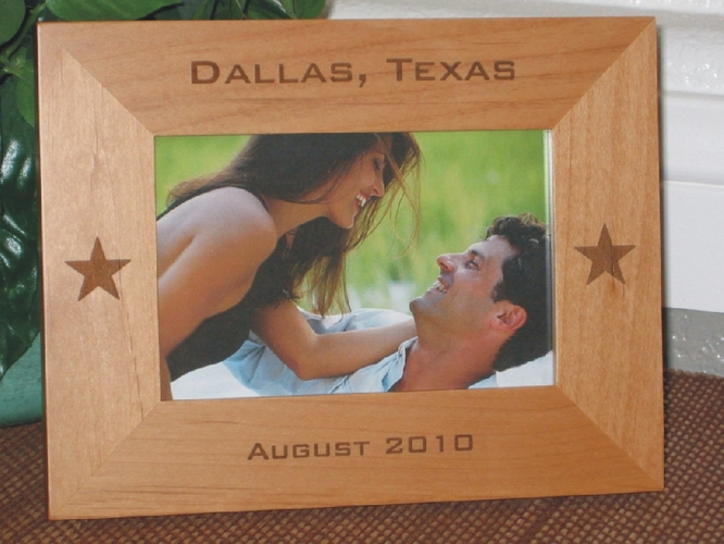 Dallas Picture Frame - Personalized Frame - Laser Engraved Stars