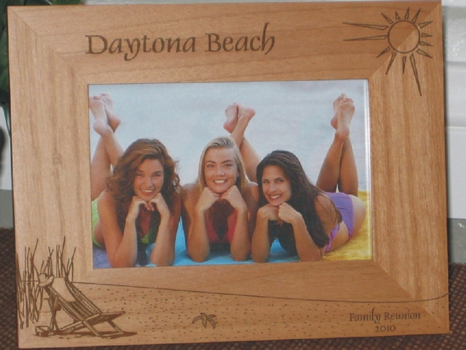 Daytona Picture Frame - Personalized Frame - Laser Engraved Beach Theme